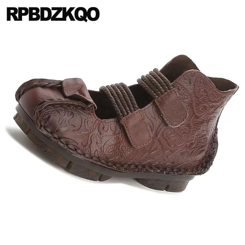 Chinois Bout Ethnique Traditionnel Âgées Chaussures Cuir Brun Brown Designer Personnes Appartements Chine Respirant Rond Femmes dark Noir Dames Véritable En Noir qPEC7Iwa