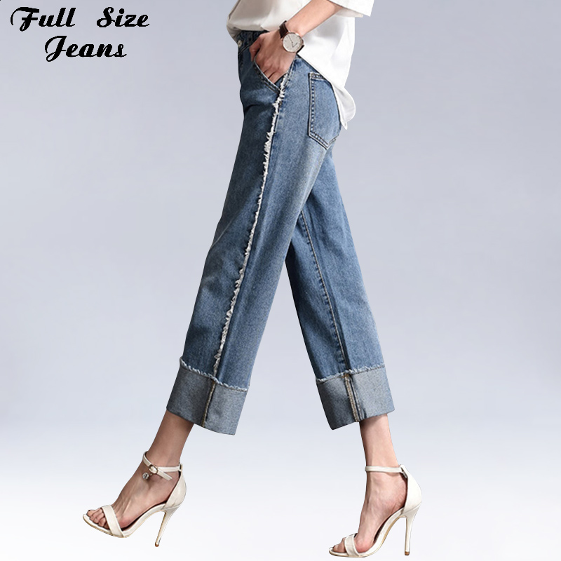 Full Size Jeans Summer Women Plus Size Side Striped Ankle Capris Jeans Wide Leg 4Xl 6XL Loose Frayed Edge Casual Pants Oversize Cowboy Trousers