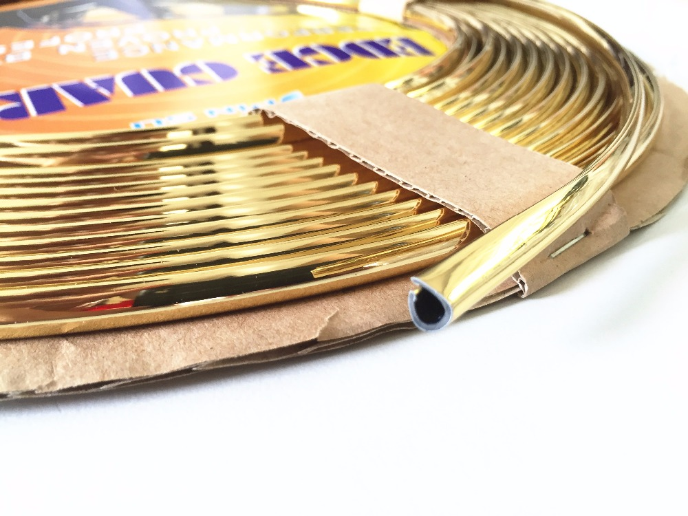 10M Gold car style U Shape interior grill side door boot molding trim grille self adhesive 6mm decoration strip