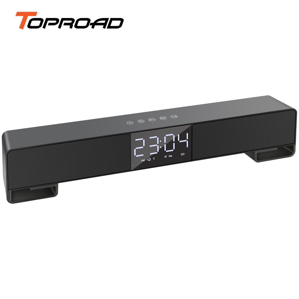 TOPROAD Touch Wireless Soundbar Dual Bass Stereo Bluetooth Speaker Support LCD Display Clock Handfree Radio Boombox