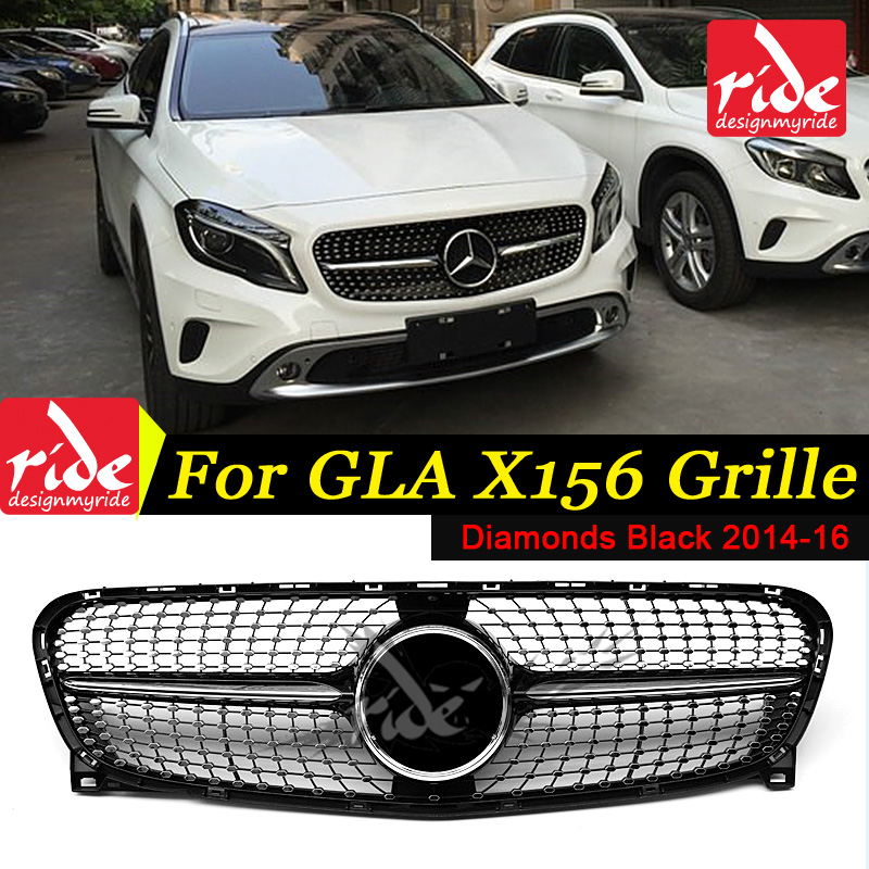 For MercedesMB X156 Diamonds Front Grille ABS Black GLA Class GLA180 GLA200 GLA250 GLA45 Look without