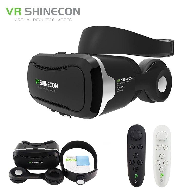 VR Shinecon 4.0 Stereo Google Cardboard 3D Glasses Smartphone Virtual Reality 360 Helmet Headset Box for 4-5.5' for Mobile