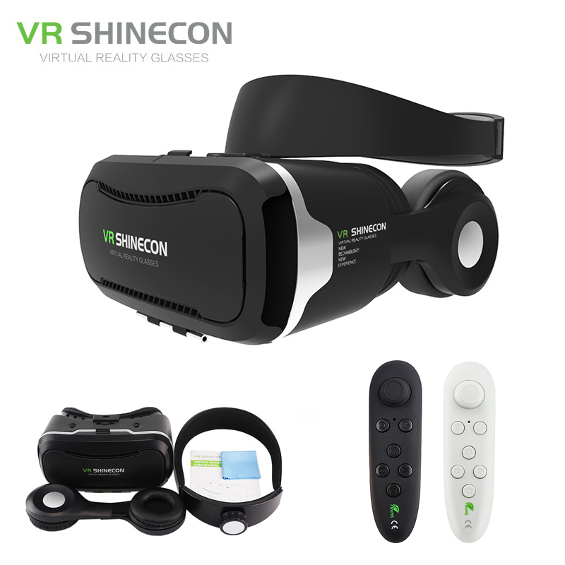 VR Shinecon 4.0 Stereo Google Cardboard 3D Glasses Smartphone Virtual Reality 360 Helmet Headset Box for 4-5.5' for Mobile original vr virtual reality 3d glasses box stereo vr google cardboard headset helmet for ios android smartphone bluetooth rocker