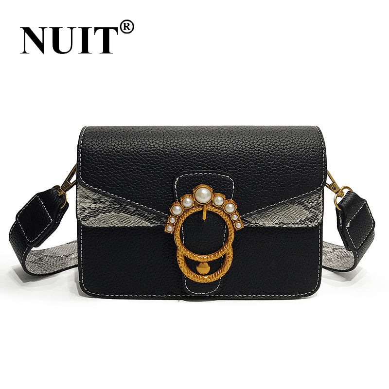 NUIT Small Party Handbags Women Bags Designer Pearl Serpentine Leather Crossbody Bags for Women Messenger Bag Ladies Sac a Dos