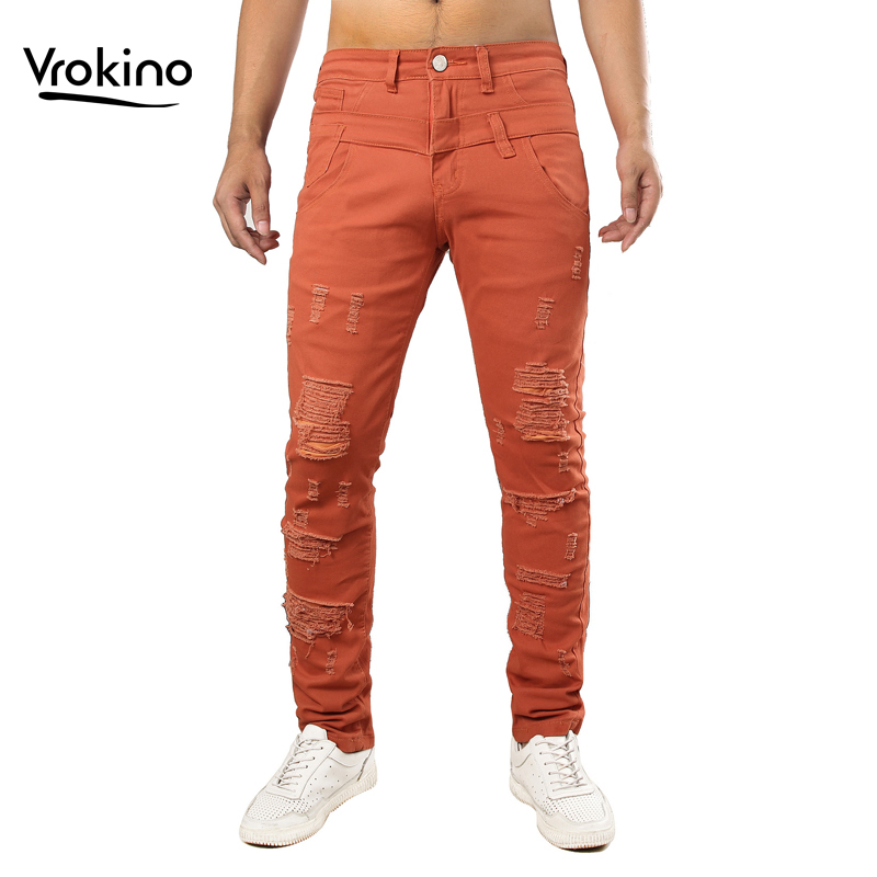 New 2019 Men's Ripped Jeans Fashion Man Hip Hop Torn Large Size Jeans Men's Orange Blue Navy Blue Red Brand Clothing 38 40 42