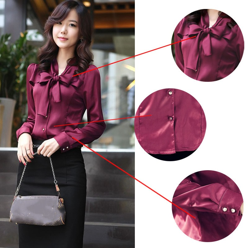 Hot Sale Korean Fashion Clothing Chiffon Satin Blouse with Bow Long Sleeve Womens Tops and Blouses Mori Ladies Office Shirt