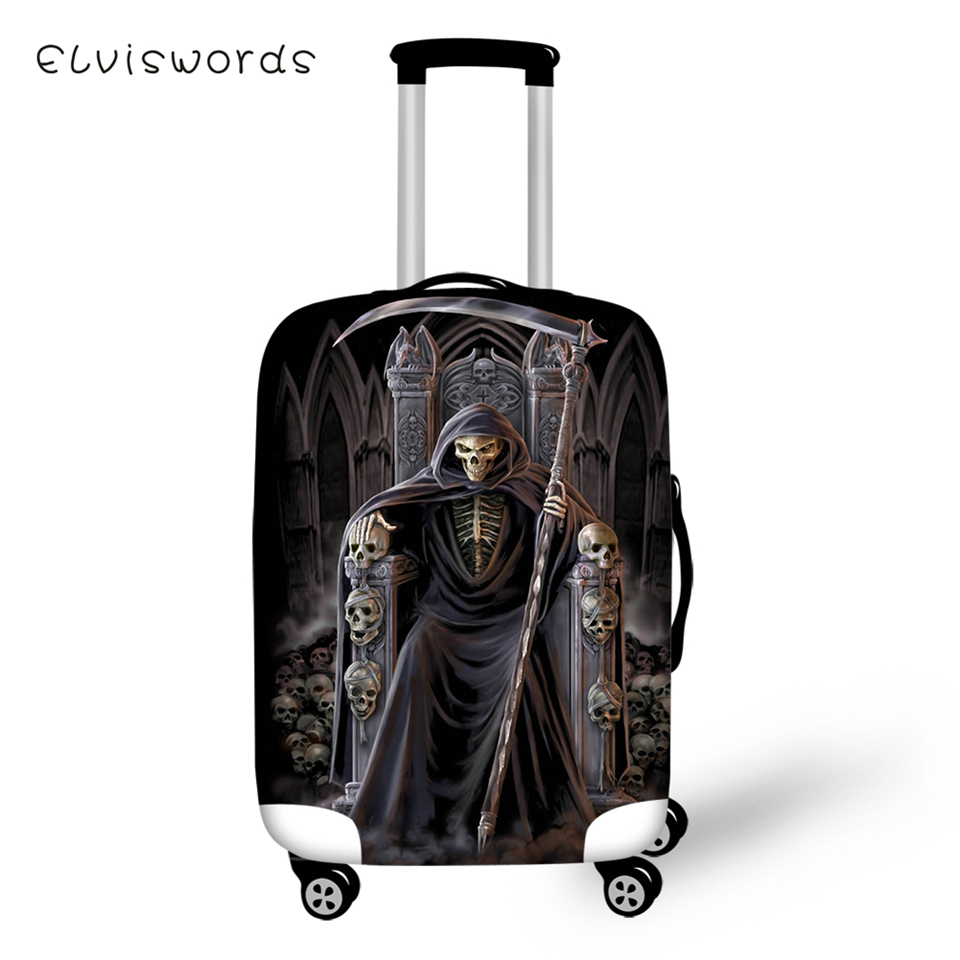 ELVISWORDS Protective Suitcase Cover Dark Gothic Angel Elastic Dust-proof Luggage Cover Skull  Luggage Accessories Black Friday