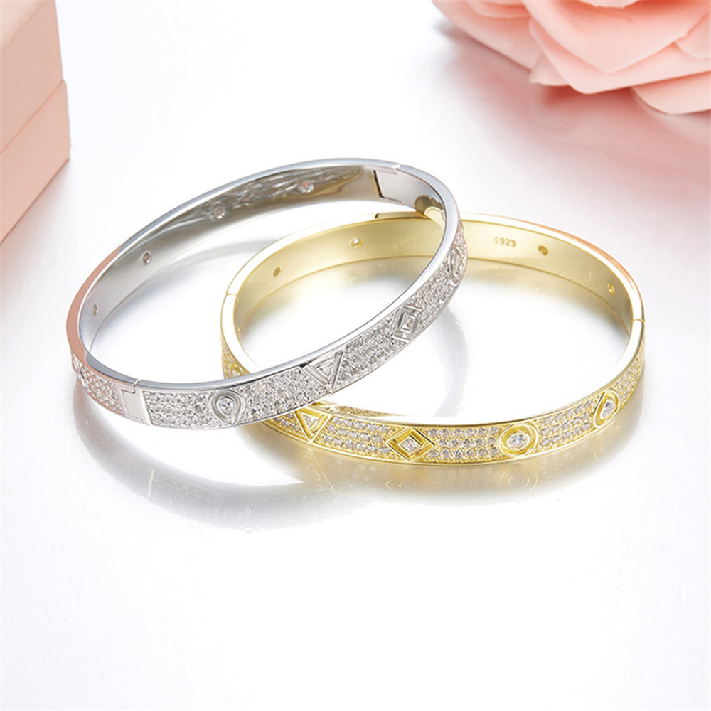 Hot Brand Pure 925 Sterling Silver Jewelry For Women Rose Gold 2 Color LOVE Bangle Jewelry Silver Bracelet Classic Top Quality popular good quality gift silver jewelry bangle pink love heart famous crystals 925 pure silver bangle