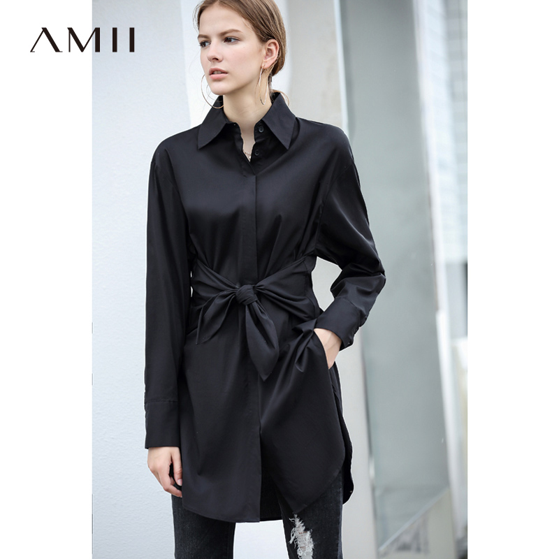 Amii Office Shirts Women Spring 2019 Elegant Solid Bow Lace Up Long Sleeve Asymmetrical 100% Cotton Female Blouse Shirts-in Blouses & Shirts from Women's Clothing    2