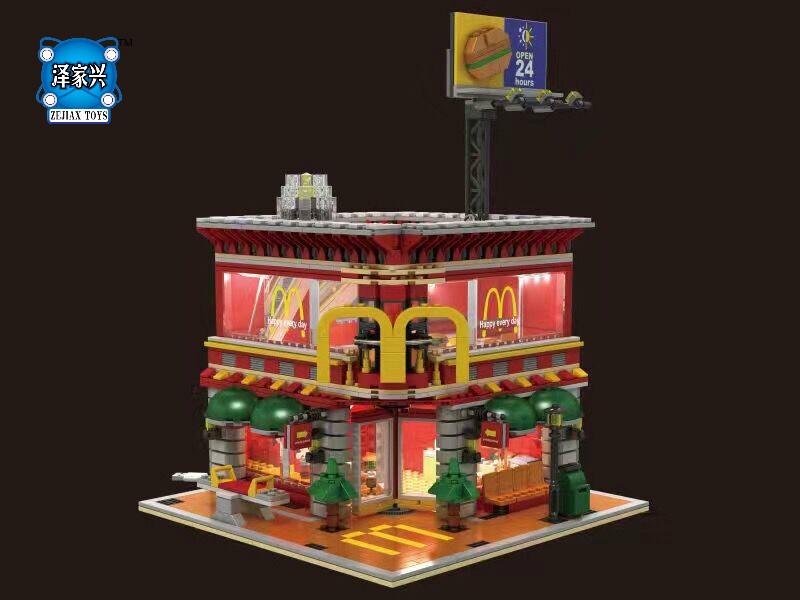 Hot Street View Ronald Restaurant 4 In 1 Wheels on Meals Building Block Compatible Lepins Standard Brick Size City Toys for Kid loz street view architecture building brick 303pcs
