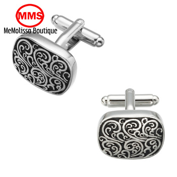 MeMolissa High Quality French enamel Style silver Vintage pattern Cufflinks Mens Shirt Brand suit Cuff Buttons Top sale