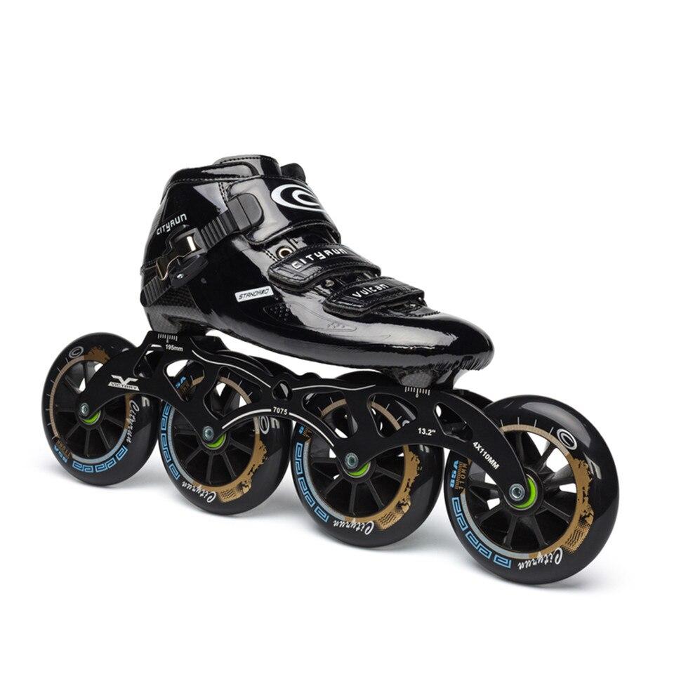 JEERKOOL D'origine Cityrun Professionnel Vitesse Inline Patins à roulettes pour Enfants Adulte Fiber De Carbone 4 Roue De Patinage de Vitesse De Course Chaussures