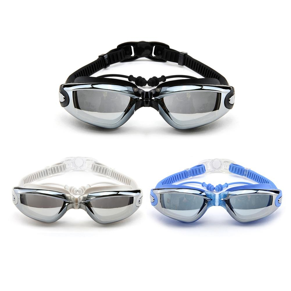 Electroplating Anti Fogging Swimming Goggles Optical Swimming Glasses With Earplug Black Sliver And Blue Color High Quality