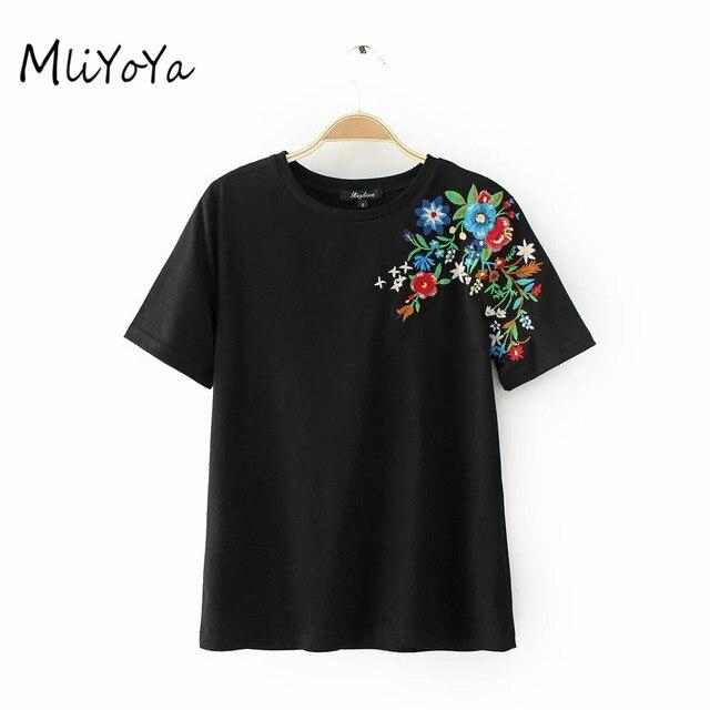 MLIYOYA Borduurwerk T-shirts Vrouwen Katoen Slanke T-shirts Casual Straat  Dagelijks Schouder Bloemen