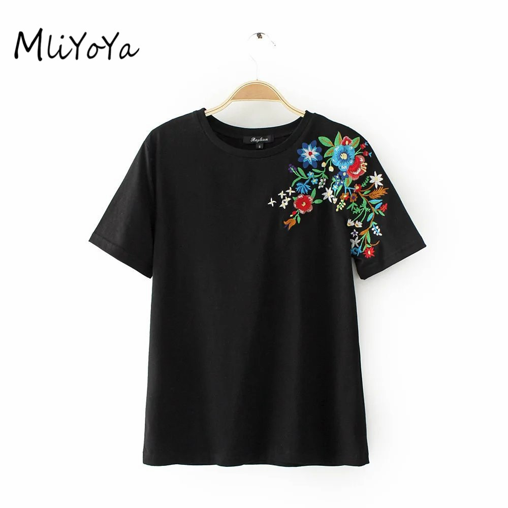Mliyoya embroidery t shirts women cotton slim tshirts