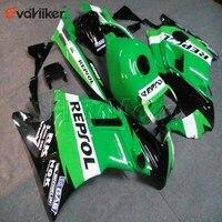 Personalizado motocicleta cowl para cbr600f2 1991 1992 1993 1994 abs carenagem da motocicleta + 5 presentes verde h2