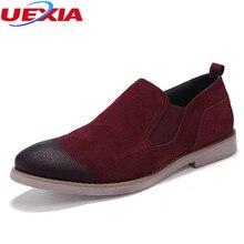 UEXIA Flock Zapatos de Cuero Oxford Ocasional Oficina de Negocios de Moda Vestido de Los Hombres Zapatos de Trabajo de Cuero de Ante de la Vaca Al Aire Libre Mocasines Sapatos