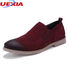 UEXIA Flock Leather Shoes Casual Oxford Fashion Business Office Dress Men Shoes Outdoor Cow Suede Leather Work Moccasins Sapatos