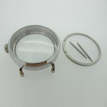 46 мм Серебряный полированный PVD чехол для часов из нержавеющей стали подходит для 6498 6497 механизм, чехол для часов с минеральным кристаллом