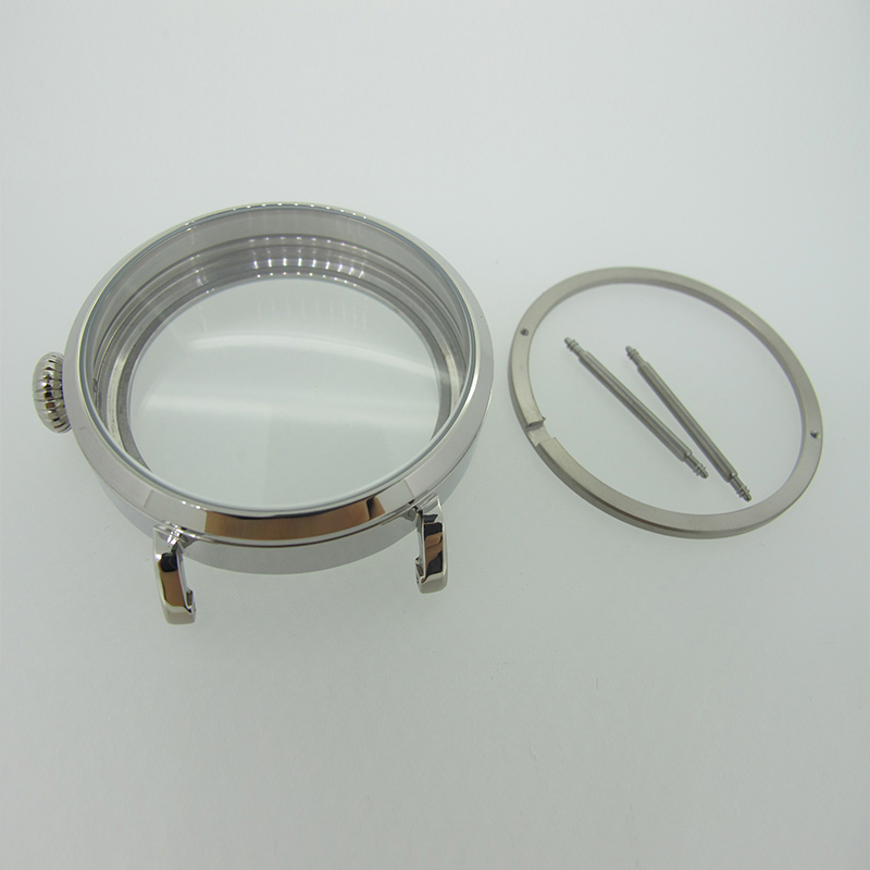 46mm Silver Polished PVD Stainless Steel Watch Case fit 6498 6497 Movement,Watch Part Case with Mineral Crystal Glass 46mm case polished stainless steel corgeut watch case fit 6498 6497 movement sc4601