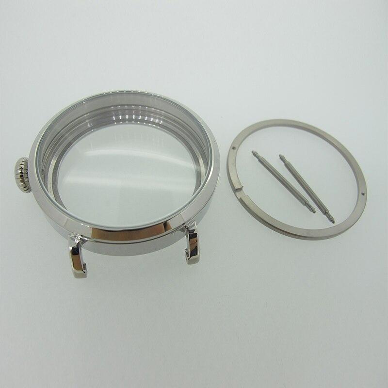 46mm argent poli PVD boîtier en acier inoxydable pour montre fit 6498 6497 mouvement, montre partie boîtier avec verre de cristal minéral-in Boîtiers de montres from Montres    1