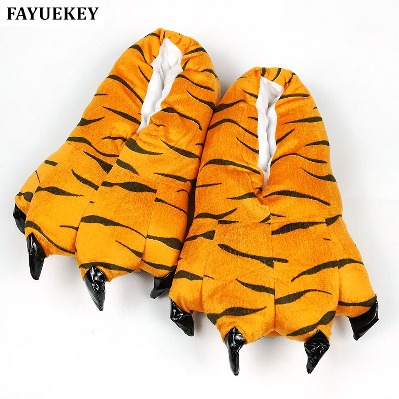 FAYUEKEY 2017 New Home Winter Warm Paw Plush Slippers Cotton Soft Animal Claw Slippers Indoor\Floor Flat Shoes Christmas Gift plush winter slippers indoor animal emoji furry house home with fur flip flops women fluffy rihanna slides fenty shoes