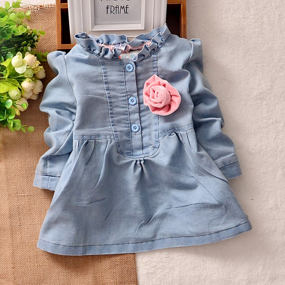 все цены на  Free shipping children clothing spring/autumn girl 100% cotton water wash soft denim long-sleeve dress girl short dress  в интернете