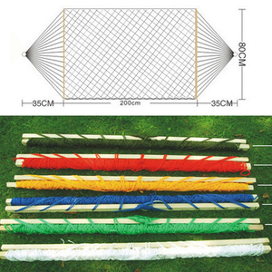 Image 2 - The Mesh Camping Hammock with Wooden Bar 80cm Single person Nylon Rope Hanging Chair with Tree Rope Summer Swing Bed