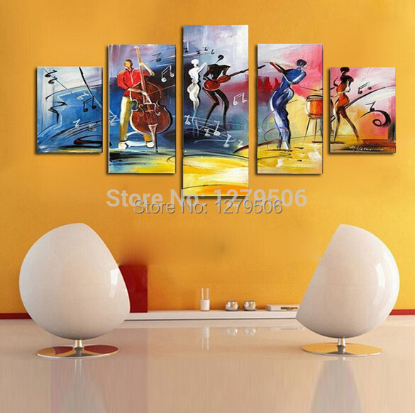 100% Hand painted Wall Art European Oil Painting Violin Show Decoration 5 Pcs/set Picture On Canvas Home Decor For Living Room