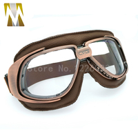 Helmet Goggles With Clear Lens Motorcycle Goggle Vintage Pilot Biker Leather For Motorcycle Bike ATV Goggle
