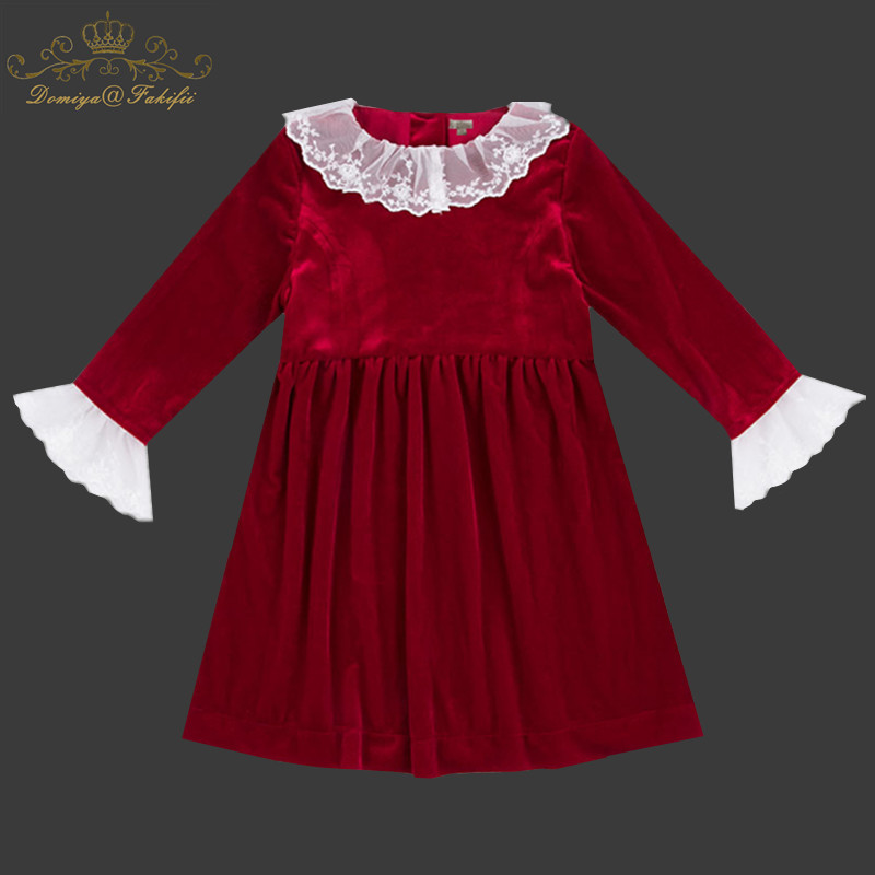 Red Velvet Dresses Children Dress Autumn Cute Lace Girl Clothes New 2018 Brand Kids Dress Toddler Party Brand Birthday Princess nicbuy girl s autumn winter dress 2017 new children add velvet and lace princess fashion dress red blue