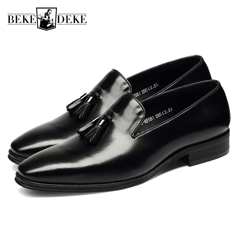 Autumn New Fashion Mens Genuine Leather Cow Pointed Toe Slip On Hot Sale Formal Shoes Dress Shoes Male Tassel Low Heel Plus Size pointed toe lace up mens dress shoes male footwear autumn new fashion genuine leather british retro plus size top quality brand
