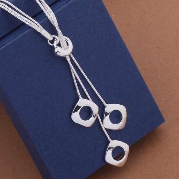 Collar elegante de moda para mujer, collar largo con colgante de Cuadrado hueco N925, joyería chapada en cadena Mulit, regalo amoroso AN441-1