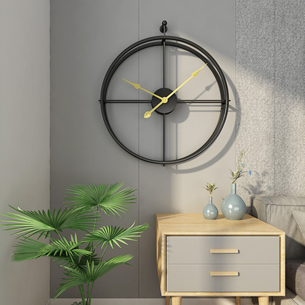 Iron 3D Wall Clock Vintage Design Wall Round Nordic Wrought Creative Retro Simple Study Craft Hanging