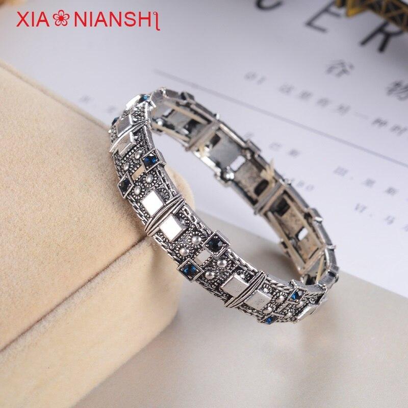 XIAONIANSHI Nueva originalidad antigua pulsera de plata y oro - Bisutería - foto 2