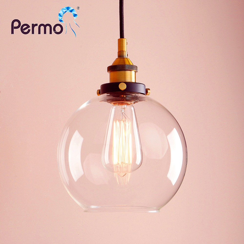 PERMO 7.9 Pendant Lights Vintage Industrial Pendant Ceiling Lamps Modern Clear Glass Shade Hanglamp E27 Lights Fixture Home Bar