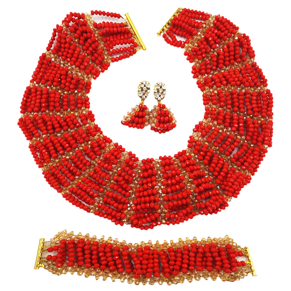 все цены на Opaque Red Gold Nigerian Jewelry Set African Wedding Beads Sets Crystal Beaded Necklace Bracelet Earrings SXK012 онлайн