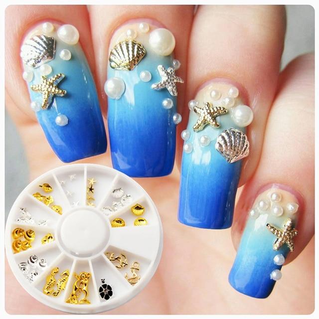 1 Box Sea Horse Shell Nail Studs Gold Silver Starfish Art Decoration For Uv