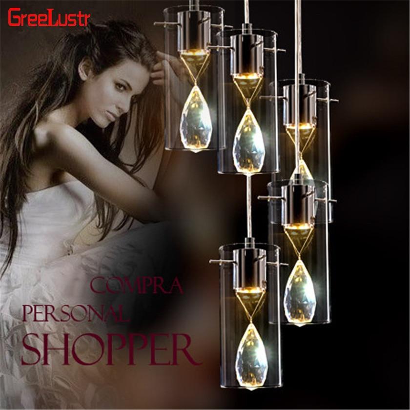 European K9 crystal Pendant Lamp Creative Glass Lampshade Led Chandelier Hanging Lamp For bar Dinning Room