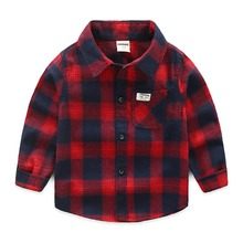 hot deal buy kid boys shirts 2019 spring&autumn cotton tollder boys shirts long sleeve boys tops children plaid shirts kids clothes for 2-8t