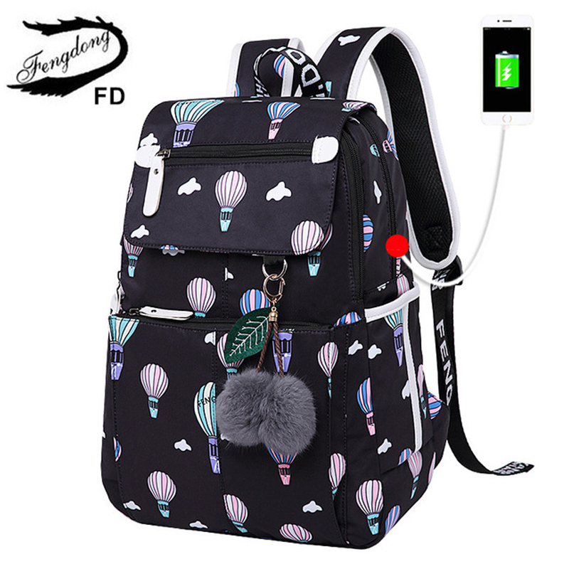 Fengdong Women Printing Cute Backpacks For Teenage Girls School Bags