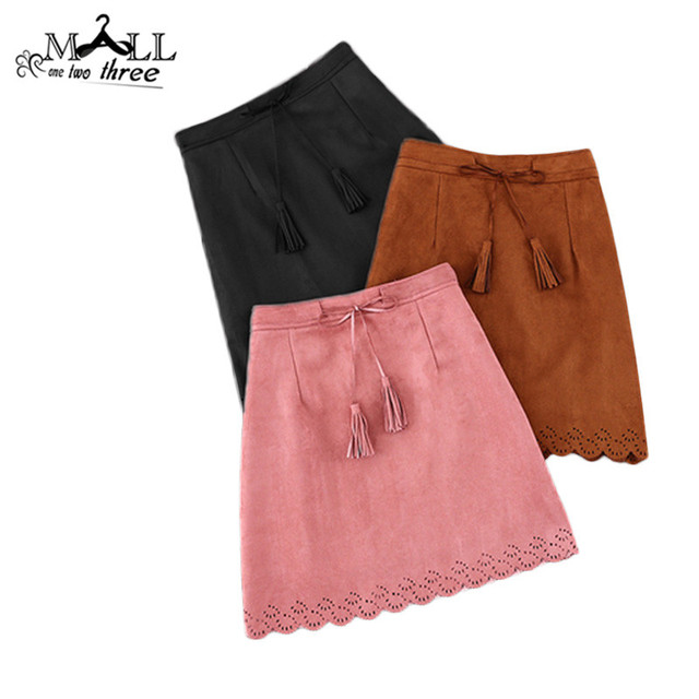 New Spring Autumn Fashion Hollow Out High Waist Women A-Line Suede Leather Skirt Fringed Tassel Short Skirts Saias B58202