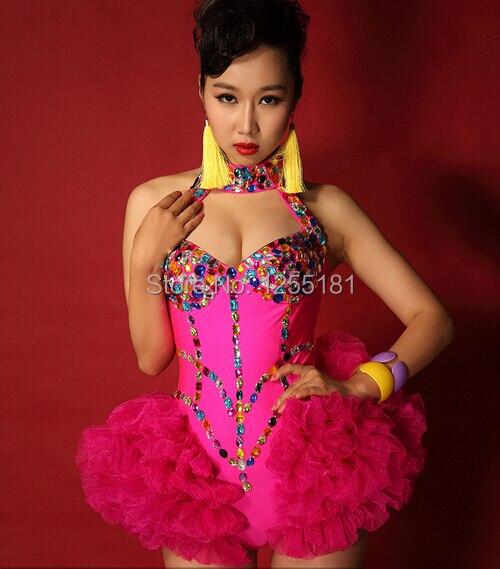 2019 femmes nouveau style de mode femme chanteuse ds danseur vêtements strass combinaison diamant slim une pièce sexy costumes-in Combinaisons from Mode Femme et Accessoires    1