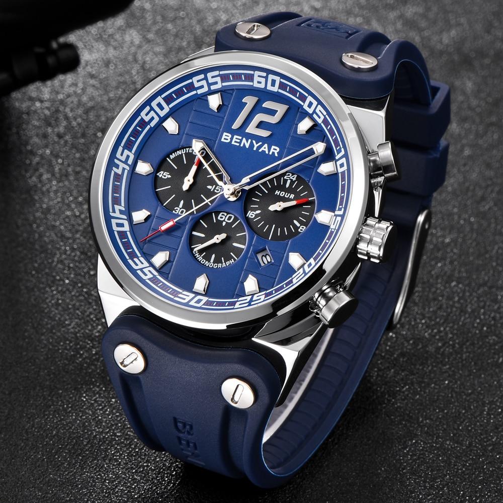 Topdudes.com - BENYAR Luxury Sports Fashion Chronograph Quartz Military Silicone Strap Watch