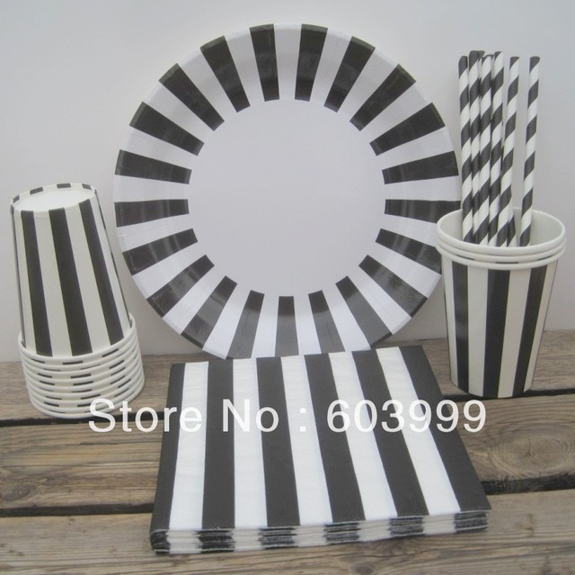 Tableware Set - Black and White Stripes - Black Tie Party Paper Plates Drinking Cups Napkins & Tableware Set Black and White Stripes Black Tie Party Paper Plates ...