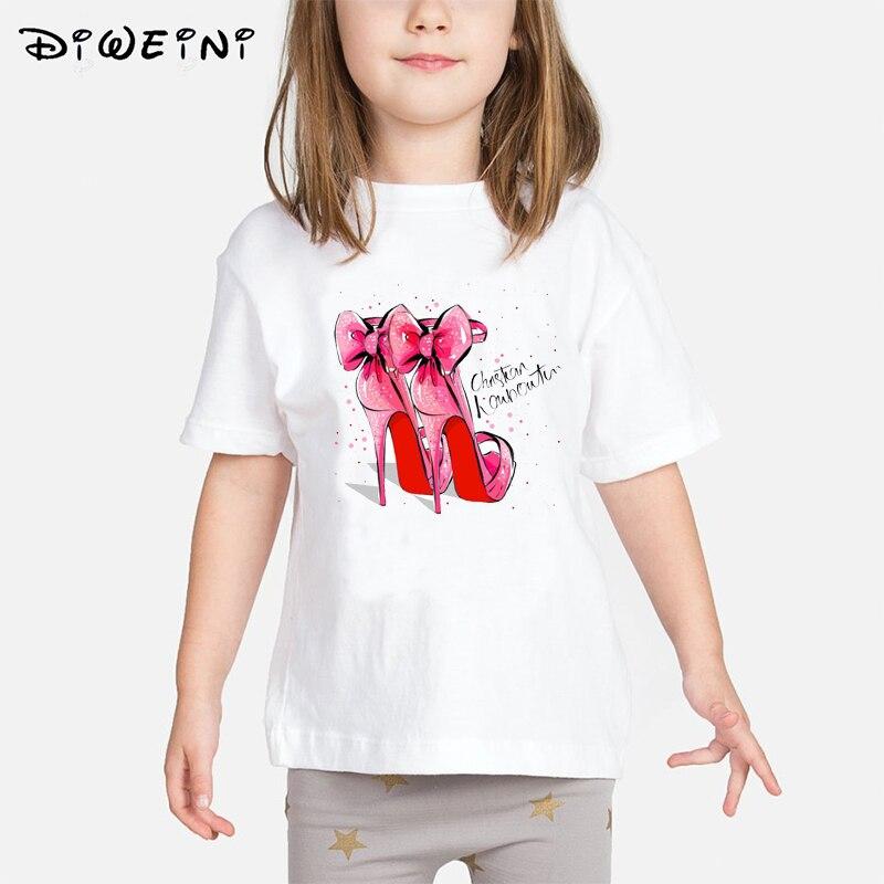 T-shirt for girls high heels TShirt Summer  Printed summer Tops tee shirt childrens t-shirt O-neck Short Sleeve Casual White Top