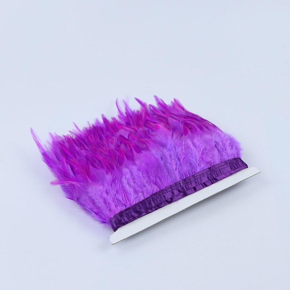 2 yardas/Lot 8 13 cm luz púrpura Gallo pluma recorte cintas flecos ...