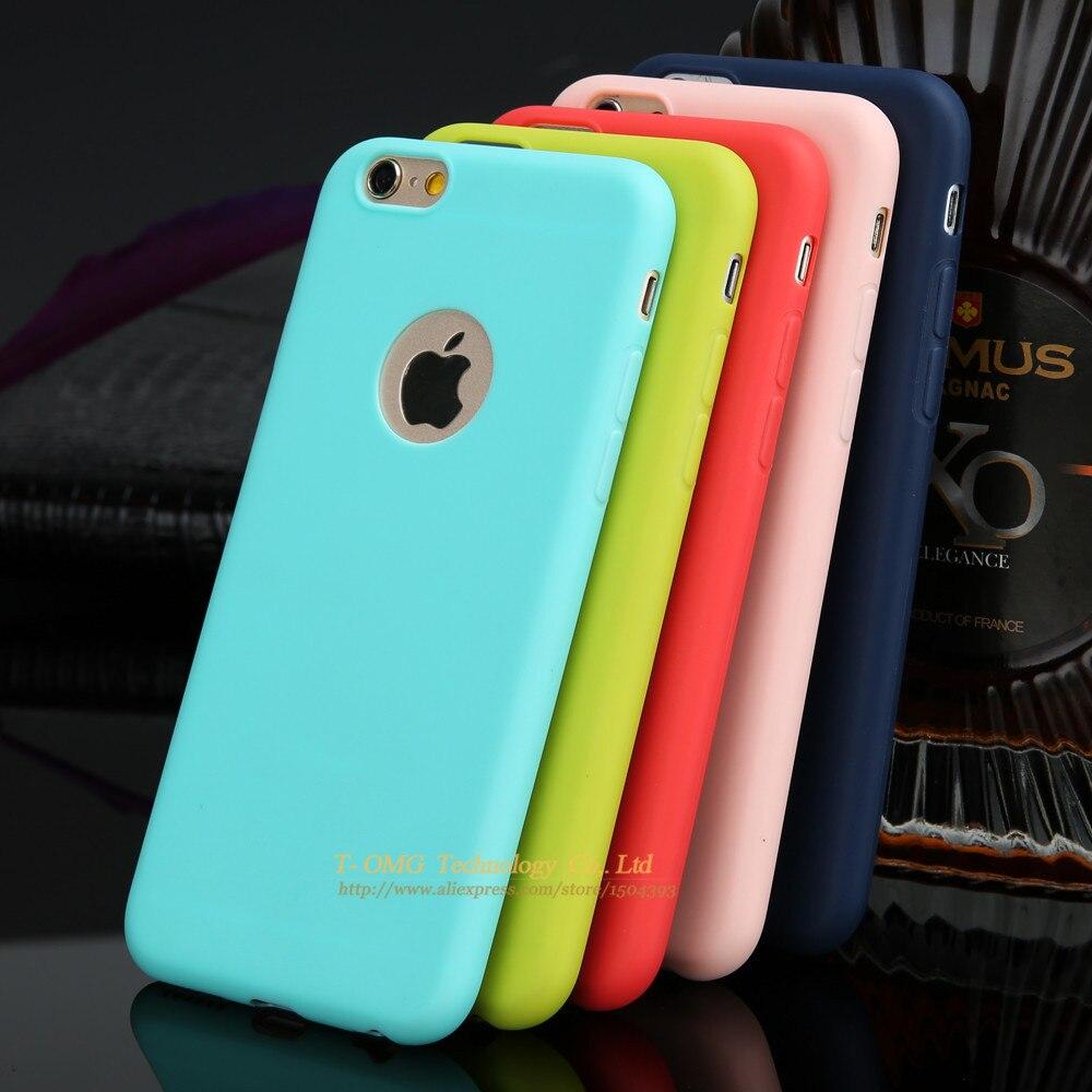 Colores lindos del caramelo caja del teléfono para iphone 7 7 plus 6 6 s plus 5