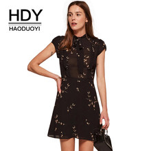 HDY Haoduoyi 2019 Fashion Summer Women Vintage A-line Print Short Sleeve Mini Elegant Dress Empire O-neck Party Black Vestidos(China)