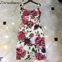 Ziwwshaoyu New Fashion 2018 Summer Runway Dress Women's Spaghetti Strap Gorgeous Floral Print Pencil Dress